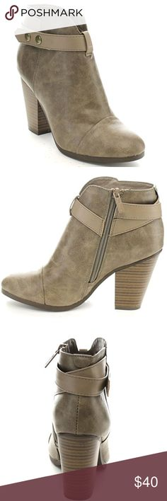 """Beige Belted Chunky Heel Ankle Booties Faux Leather Synthetic sole Shaft measures approximately 4 from arch Platform measures approximately 0.25"""" side zipper padded insole stiching details Shoes Ankle Boots & Booties"""