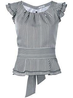Shoppen Guild Prime Gestreiftes Top mit Volants Shop Guild Prime Striped top with flounces Blouse Styles, Blouse Designs, Shopping Outfits, Bluse Outfit, Sewing Blouses, Dress Patterns, African Fashion, Blouses For Women, Designer Dresses