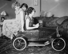 Three Women Posing In A Small Pedal Car Vintage 8x10 Reprint Of Old Photo