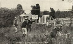 Still from The Story of the Kelly Gang, 1st full length narrative in the world 1906. © National Film and Sound Archive,The police surrounding Glenrowan Hotel