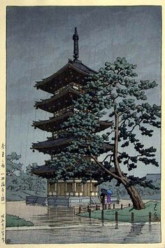 Rain at Tower of Kofukuji Temple, Nara by Kawase Hasui, 1951 (published by Watanabe Shozaburo)