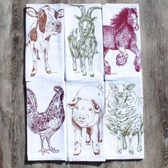 Cloth Napkins Set of 6 Barnyard Animals Cotton Kitchen Linens. Set of six dinner napkins that are washable and reusable. These are bright white cloth dinner napkins featuring an image of a chestnut cow, burgundy horse, olive green goat, burgundy rooster, olive green sheep and chestnut pig. I personally hand draw all of my designs and hand pull all of my screen print images. The printed cotton table napkin are eco-friendly kitchen napkins premium quality 100% recycled cotton. They are nice...