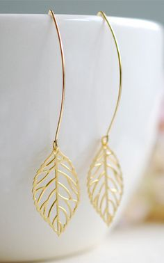 Gold Leaf Earrings Filigree....I have the perfect necklace to match this.