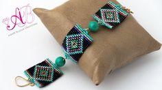 Video creazioni #33: Bracciale e orecchini con perline - square stitch, ...