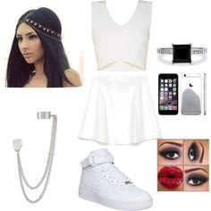 All white everything by rena132001 on Polyvore featuring polyvore fashion style BCBGMAXAZRIA Zara NIKE BERRICLE French Connection