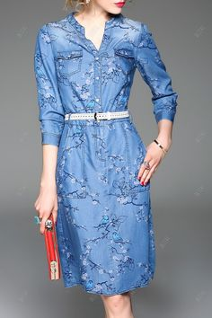 Floral Print Belted Denim Dress
