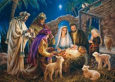 Christmas Greeting Card Nativity Scene by Dona Gelsinger - Puzzles .