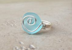 Ocean Blue Sea Glass Ring Silver Wire Wrapped by SherryKayDesigns, $18.00