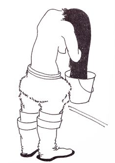 Femme eskimo a la toilette. Dessin de Paul-Emile Victor.