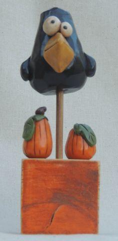 Halloween Clay Edgar Allen Crow on a Stick. $21.00, via Etsy.
