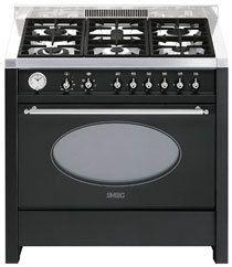 Cucina da arredamento, serie Victoria, antracite/acciaio inox, 90 cm.Classe A.