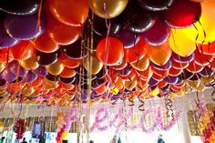 Fall Colored Balloons on Ceiling