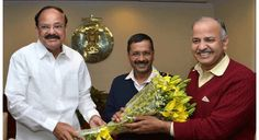 AAP leader Arvind Kejriwal Wednesday met Urban Development Minister M. Venkaiah Naidu here.Accompanied by party leader Manish Sisodia, the Delhi chief minister-designate met Naidu at Nirman Bhawan - which houses the ministry - around 9.30 a.m.