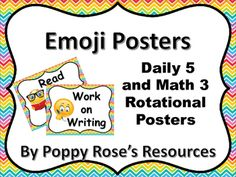 Display your Daily 5 and Math Daily 3 rotations with this Emoji themed pack…