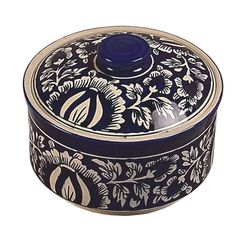 Casseroles with Lids Set of 3 in Handmade Blue Pottery (Microwave Safe), Medium
