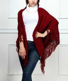 Another great find on #zulily! Burgundy Ribbed Fringe Shawl by Reborn Collection #zulilyfinds