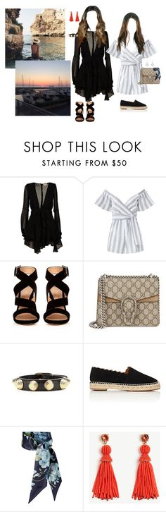 """Night Out In Palma"" by johannajohannas ❤ liked on Polyvore featuring For Love & Lemons, Saylor, Gianvito Rossi, Gucci, Balenciaga, Chloé and Ann Taylor"