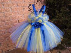 BLUE AND YELLOW. Tutu Dress. Birthday Tutu Dress. by ElsaSieron