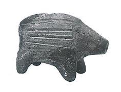 "Japanese ceramic figurine ""DOGU"".    Baby wild boar.  Hokkaido Japan."