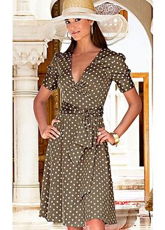 """Brown & White (BRWH) Tie Waist Dress $79 Be the prettiest woman on the scene in this fun and classy dotty dress. ·  Button closure at sleeve   ·  Removable tie for waist   ·  Invisible side zip   ·  Fully lined   ·  25"""" in length from natural waist   ·  Shell: poly/elastane; lining: polyester   ·  Imported  ·  Style #J3266"""