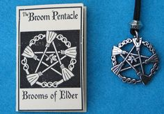 BROOMS OF ELDER PENTACLE PENDANT wicca witch pagan pewter
