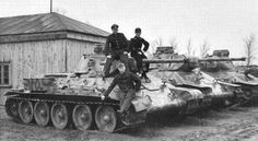 T-34 Russian tanks captured and recycled by Germans.