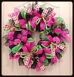 Lady Bug Hot Pink Picnic Deco Mesh Wreath/Pink, Lime and Black Wreath/Lady Bug Wreath by CKDazzlingDesign on Etsy https://www.etsy.com/listing/189191007/lady-bug-hot-pink-picnic-deco-mesh