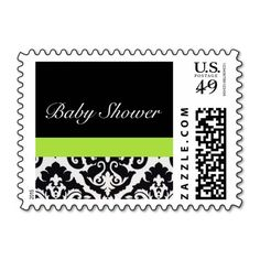 Black and White Damask Baby Shower Lime Postage Stamps