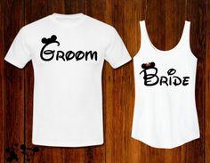 Disney Bride & Groom Tank and Tee Set Couples Coordinating Disney Shirts Disney World Disney Land MATCHING Just Married Newlyweds
