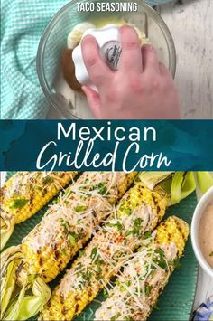 Mexican Grilled Corn on the Cob is the perfect Summer side dish! We love to make this Mexican Corn on the Cob recipe and serve it all summer long. Vegetarian Grilling, Healthy Grilling Recipes, Barbecue Recipes, Vegetarian Recipes, Cooking Recipes, Grilling Corn, Grill Recipes, Barbecue Sauce, Recipes Dinner