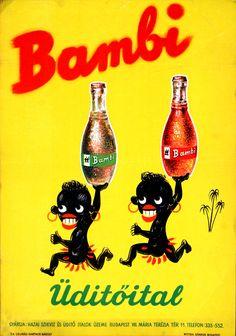 A Bambi enyhén rasszista reklámplakátja a negyvenes, ötvenes évekből Retro Ads, Vintage Ads, Vintage Posters, Retro Posters, Movie Posters, Pepsi, Bambi, Vape, Comic Books