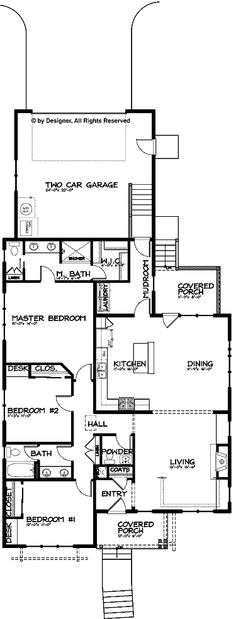 Bungalow Craftsman Single Story Open Floor Plan (HWBDO67113) | Bungalow House Plan from BuilderHousePlans.com