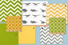 Design your own 3 pcs. SET Custom CRib Baby Bedding - Premier prints dinosaur grey yellow green. $220.00, via Etsy.