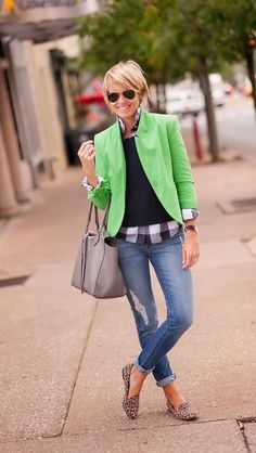 Boyfriend jeans, plaid button up, navy sweater and pop of color green jacket. Leopard slides. 2016 fall fashion Stitch Fix