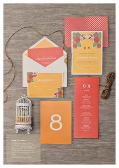 Come celebrate with us! This is featured in Celebrate's e-magazine and is styled by The Ivory Loft and photographed by Bryan Jean Photography.    #orange #red #yellow #stationery #invites #invitation #cards #weddings #typography