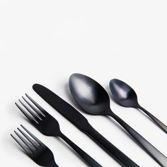 Simple Matte Black Flatware Set