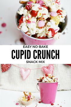 Cupid crunch snack mix for Valentine's Day. Perfect snack for Valentine's parties.