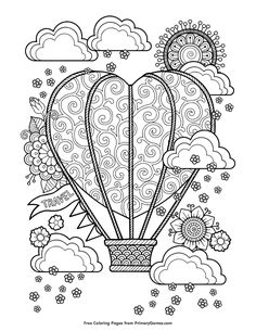 Valentines Day Coloring Pages EBook Heart Shaped Hot Air Balloon