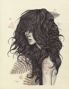 wild hair... love this drawing by 'brettisagirl' on Redbubble