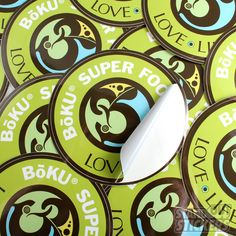 BOKU SUPER FOODS CIRCLE CUSTOM VINYL STICKERS WITH KISS CUT
