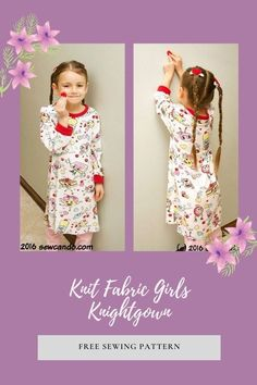 Knit Fabric Girls Knightgown FREE sewing pattern. This easy to pull-on nightdress is made from knit fabric. By using a knit with loads of stretch, its comfy feel plus the soft neck and cuffs are ideal for sleep time. To a very pretty main fabric, the designer added a red rib-knit from her stash which gives an ideal trim to the neck and fold-over cuffs. The designer also says - technically this could also double as a flowy day dress. Sewing Patterns For Kids, Dress Sewing Patterns, Sewing For Kids, Free Sewing, Free Pattern Download, Free Girl, Modern Kids, Knitted Fabric, Rib Knit