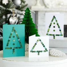 Carte de voeux pour Noël, décorée de boutons, en 28 idées géniales!