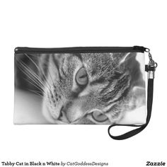 Shop Tabby Cat in Black n White Wristlet Purse created by CatGoddessDesigns. Black N White, Cat Gifts, Store Design, Cat Lady, Animal Photography, Personalized Gifts, Purses, Pets, Handbags