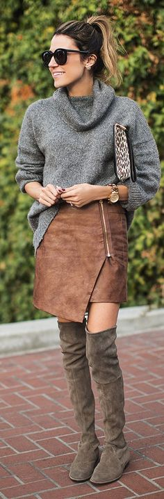 Camel Faux Leather Zip Closure Asymmetrical Mini Skirt by Hello Fashion