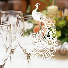 12pcs Paper White Peacock Lace Laser Cut Glass Cup Card Name Place Cards Love Wedding Birthday Party Favors Table Decorations