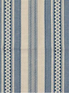 Alpine Stripe Blue - Laura & Kiran hand crafted fabric, yarn dye blue and natural jacquard stripe is perfect for curtains, upholstery or bedding. Striped Upholstery Fabric, Striped Fabrics, Blue Fabric, Blue Home Decor, Home Decor Fabric, Fabric Crafts, Lily Wallpaper, Fabric Wallpaper, Dinning Set