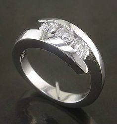 0.50 Cttw G VS SI Round Diamond 3 Stone Cocktail Ring 14K White Gold Channel Set #nobrand #Cocktail