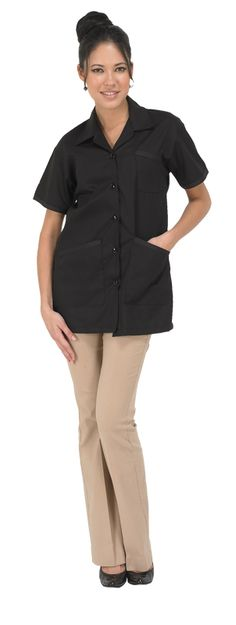 Nail Pro Jacket in Black (#891)  *Poly cotton blend  *Button down front with collar  *Two front pockets, one chest pocket  *Made in USA  *Sizes: XS, S, M, L  *Colors: White, Black