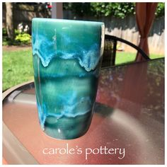 carole's pottery: Base Rainforest Three bands of Coyote Gun Metal Green each band. no hold. Pottery Designs, Pottery Ideas, Clay Classes, Surface Design, Pillar Candles, Vases, Layering, Glaze, Gun