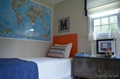 boys room, laminated world map. Boys shared bedroom by Simplicity In The South. Boys Room Decor, Kids Bedroom, Bedroom Decor, Bedroom Ideas, Ikea Ps Cabinet, E Room, Boy Rooms, Kids Rooms, Teen Rooms